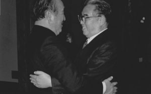 Rev. Moon hugging and reconciling with Kim Il Sung, the late North Korean Leader